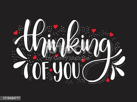 Thinking of you. Modern brush calligraphy