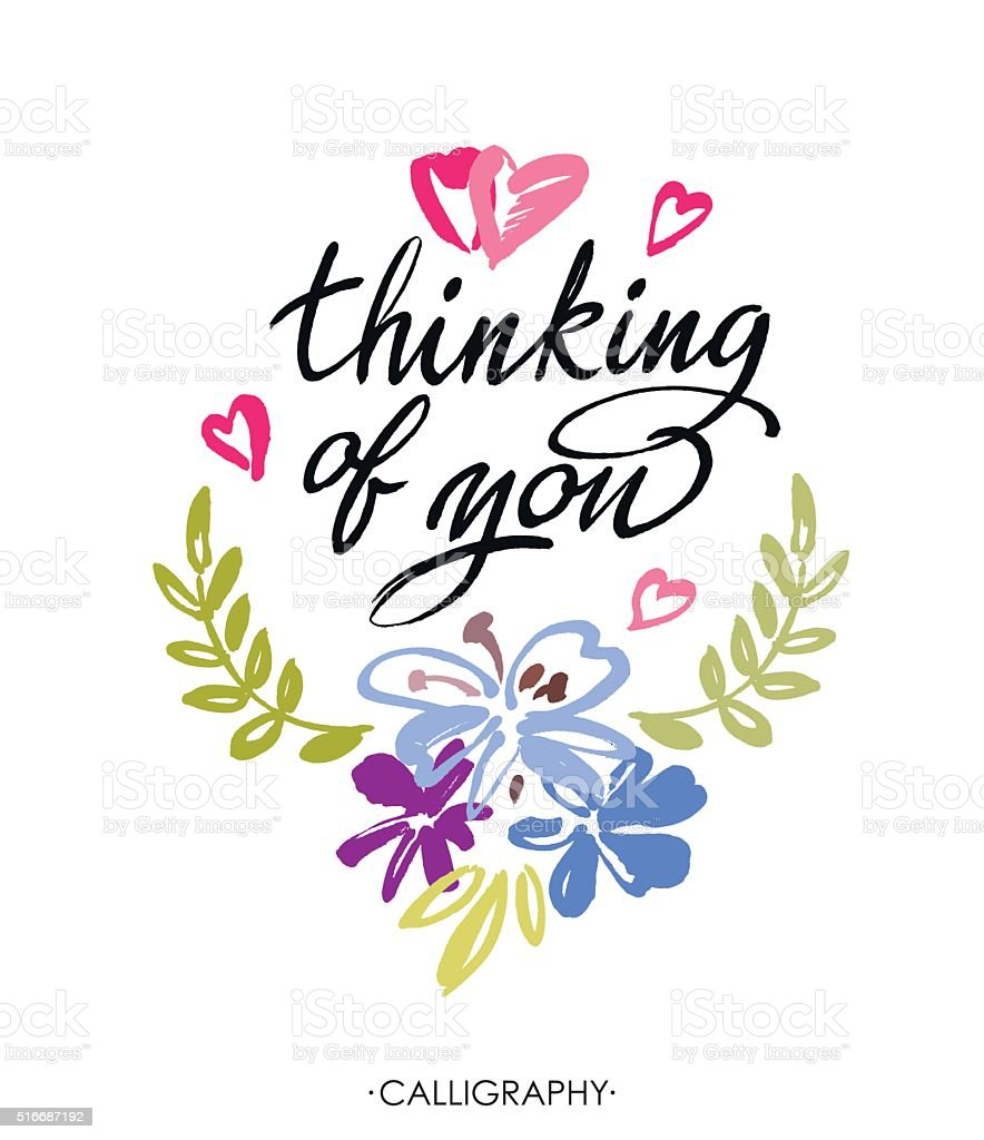 Thinking of you vector brush calligraphy handwritten ink