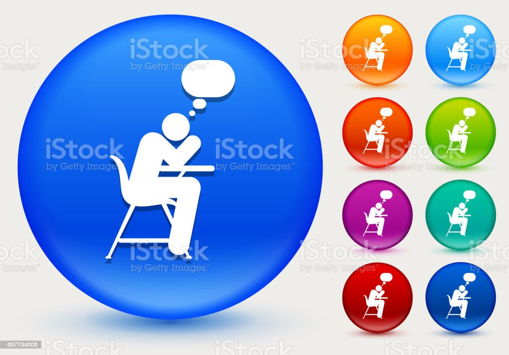 Thinking On School Desk Icon On Shiny Color Circle Buttons Stock