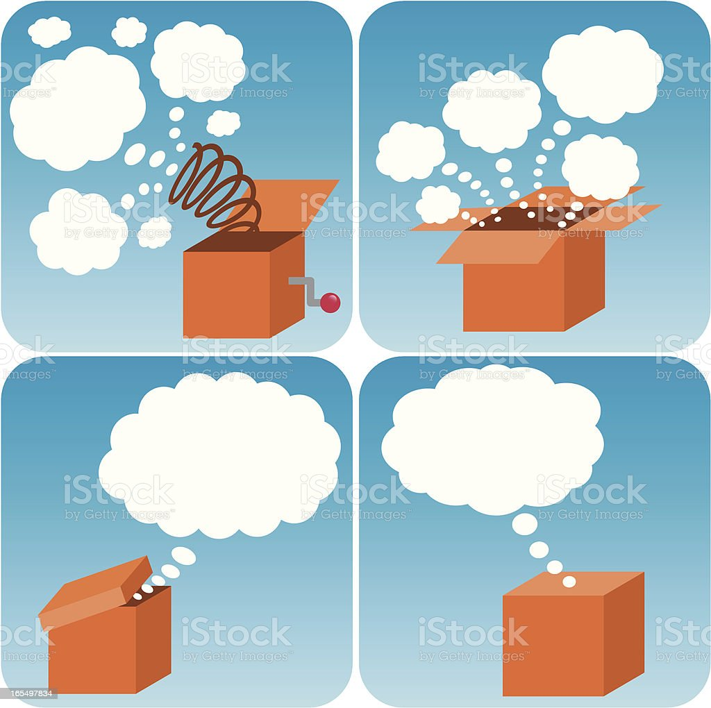 Thinking outside of the box royalty-free stock vector art