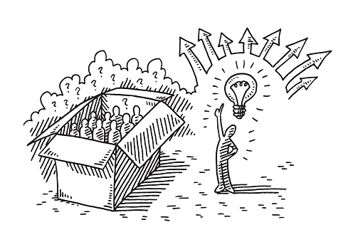Thinking Outside The Box Phrase Concept Drawing Stock