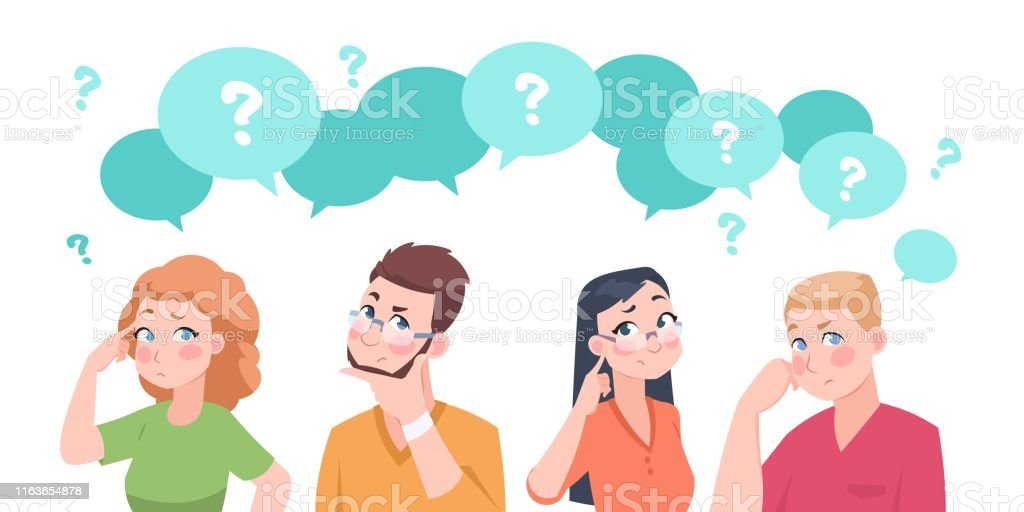 Thinking people group. Anxiety characters, flat crowd in doubt talking and confused, business team and social group. Vector cartoon Thinking people group. Anxiety characters, flat crowd in doubt talking and confused, business team and social group. Vector cartoon businessman stressed question solutions overweight Adult stock vector