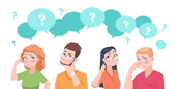 illustrazioni stock, clip art, cartoni animati e icone di tendenza di thinking people group. anxiety characters, flat crowd in doubt talking and confused, business team and social group. vector cartoon - incertezza