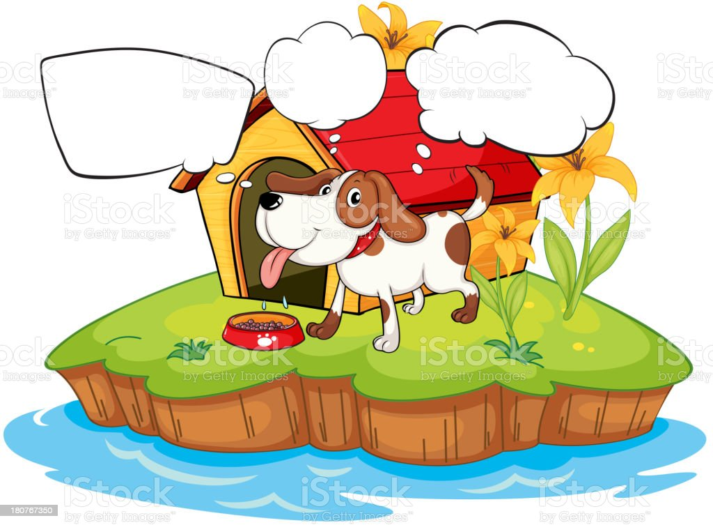 thinking pet beside his doghouse royalty-free stock vector art
