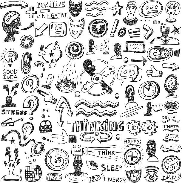 Thinking , psychology - doodles vector art illustration