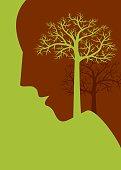 thinking save tree, creative concept