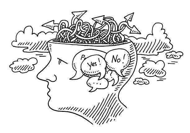 Pensando incerteza conceito de desenho de cabeça de - ilustração de arte em vetor