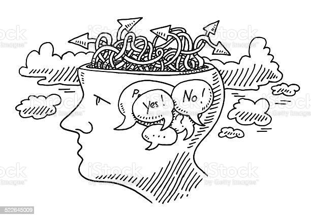 Thinking Uncertainty Concept Head Drawing Stock Illustration - Download Image Now