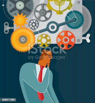 Businessman thinking concept. Illustration is nicely layered.