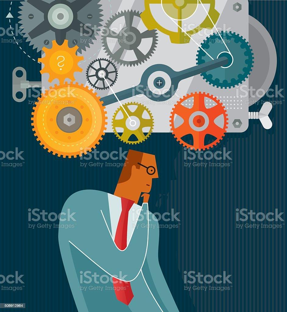 Thinking vector art illustration