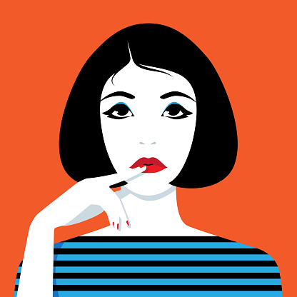 Thinking woman looking up clipart