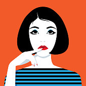 Vector portrait of thinking woman looking up with finger on her lips