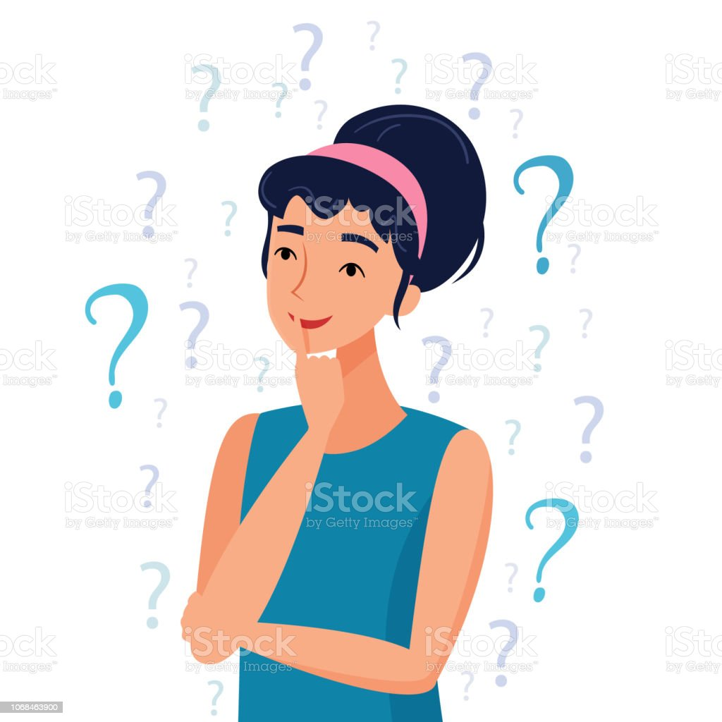 Thinking woman with question marks. royalty-free thinking woman with question marks stock illustration - download image now