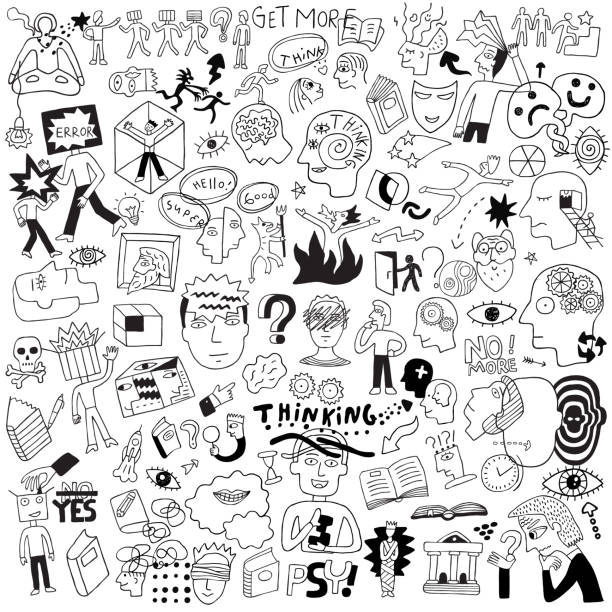 thinking,psychology,sick people - doodle set Asking,Ideas,Doodle,People,Mental Health,Medicine book drawings stock illustrations