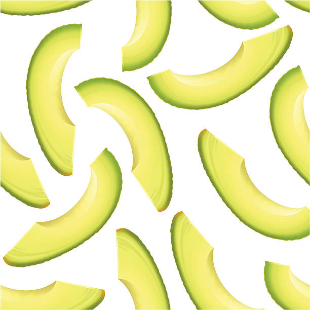 Thinly sliced pieces avocado. vector art illustration