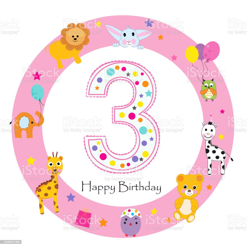 First Birthday Candle With Animals Stock Photo: Third Birthday Baby Girl Greeting Card Happy Third