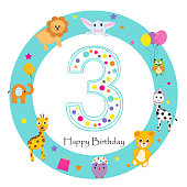 Third birthday baby greeting card. Happy third birthday candle and animals first birthday
