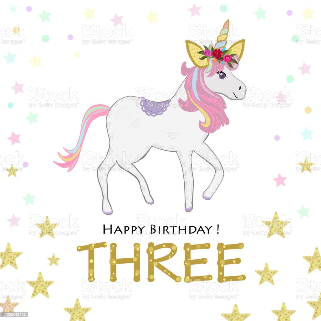 Third Birthday Greeting Three Magical Unicorn Birthday Invitation ...