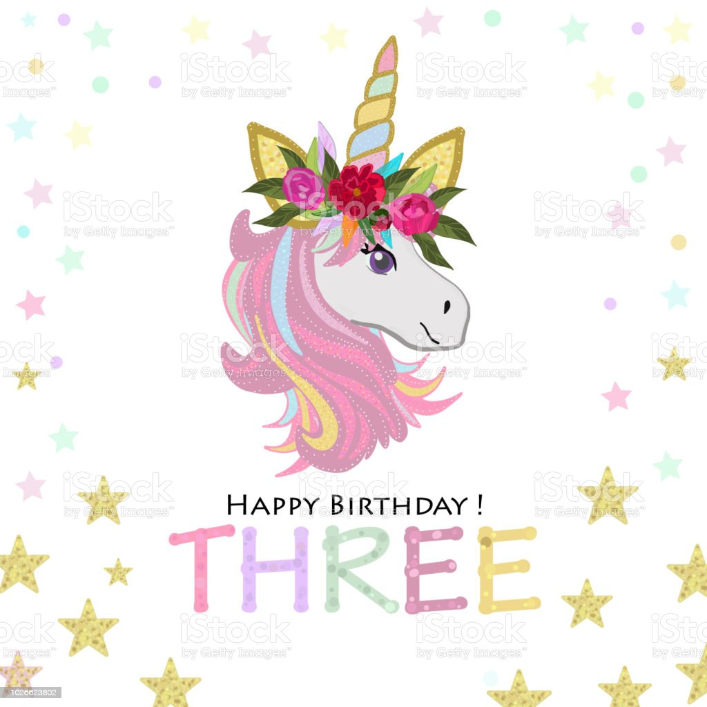 third birthday greeting three text magical unicorn birthday