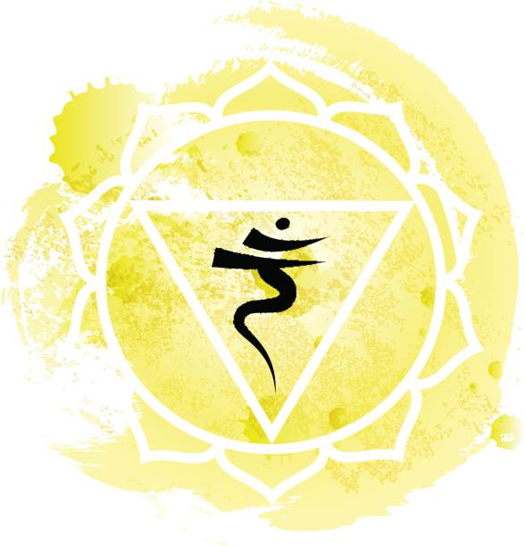 Third chakra manipura over yellow watercolor background vector art illustration
