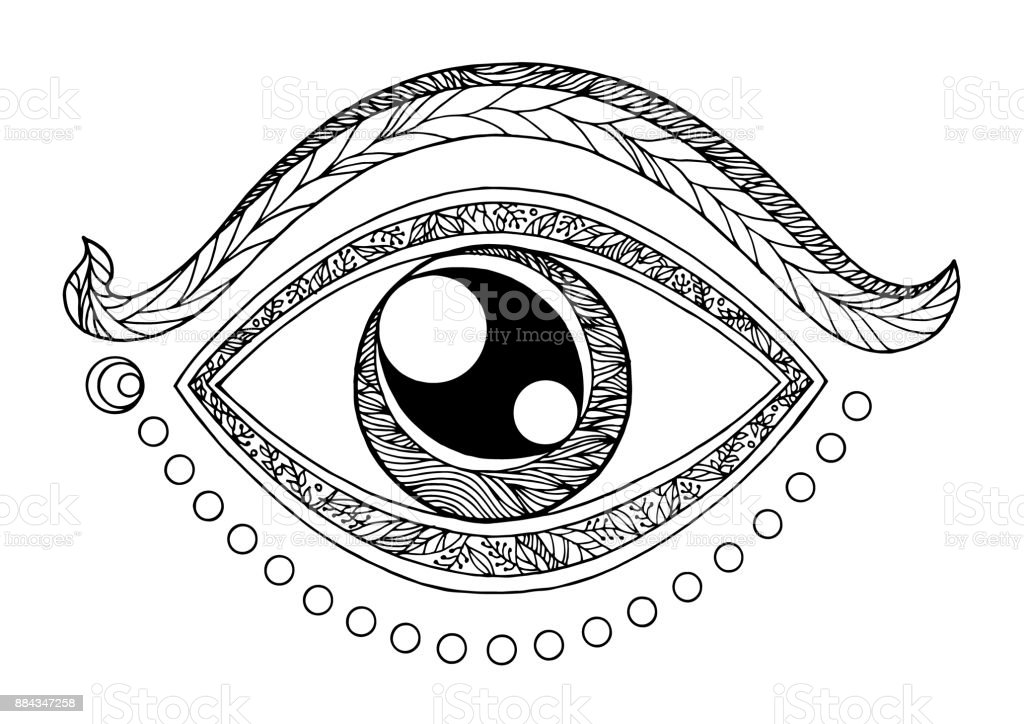 Third Eye Chakra Symbol Drawing Design Vector Illustration Hand