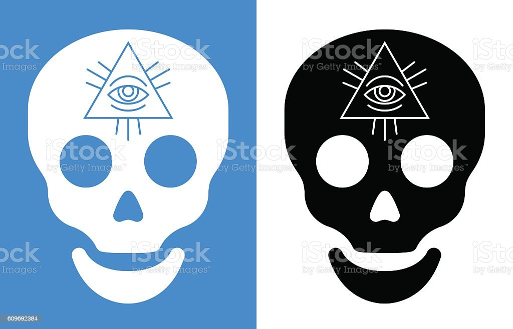 Third Eye Symbol Over Human Skull Stock Vector Art More Images Of