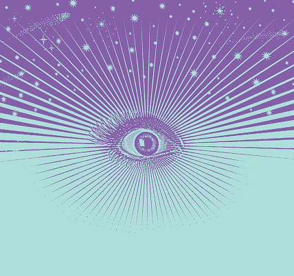 Third eye with a universe and stars