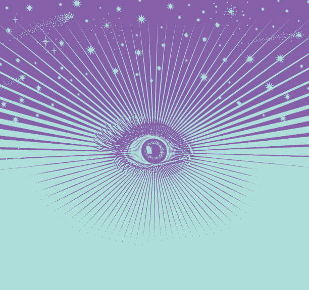 Third eye with a universe and stars vector art illustration