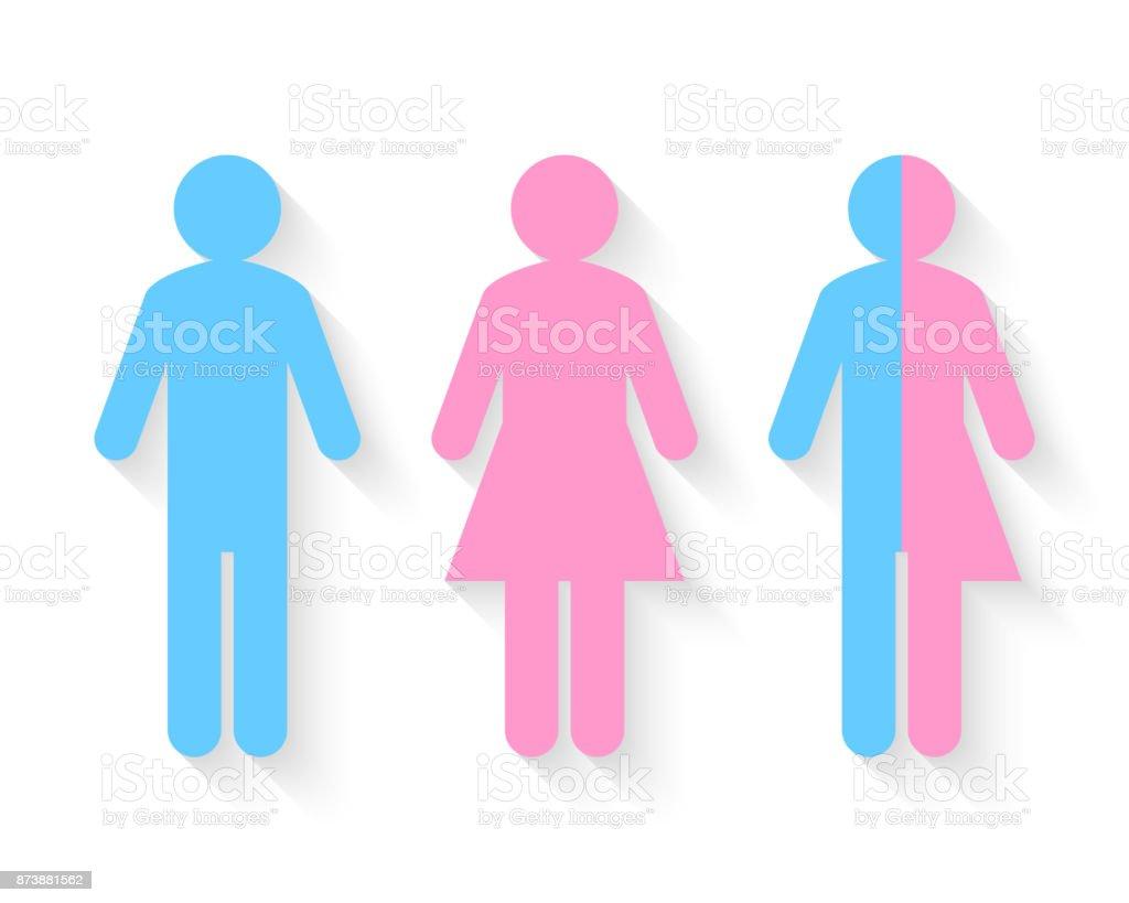 Third gender and sex concept vector art illustration