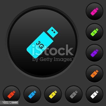 istock Third generation mobile stick dark push buttons with color icons 1022726660