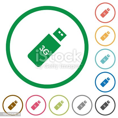 istock Third generation mobile stick flat icons with outlines 1045533970