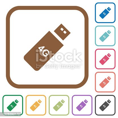 istock Third generation mobile stick simple icons 1028390172