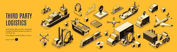 Third party logistics, 3pl, cargo export, import vector art illustration