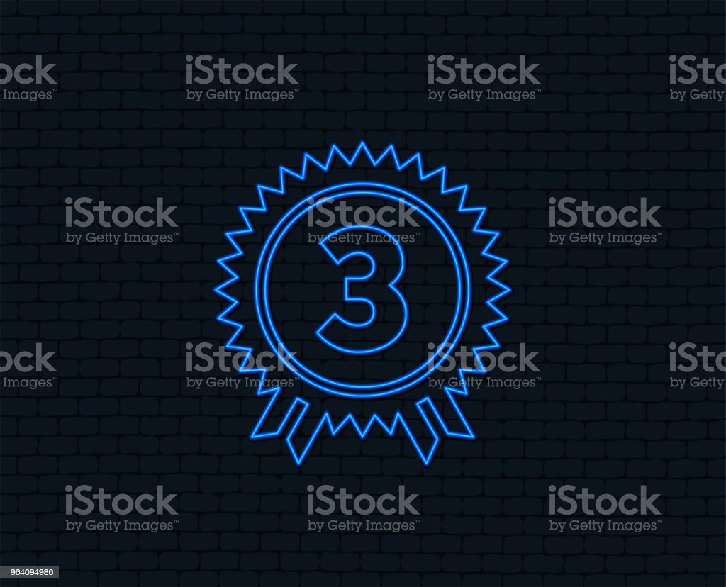 Third place award sign icon. Prize for winner. - Royalty-free Art stock vector