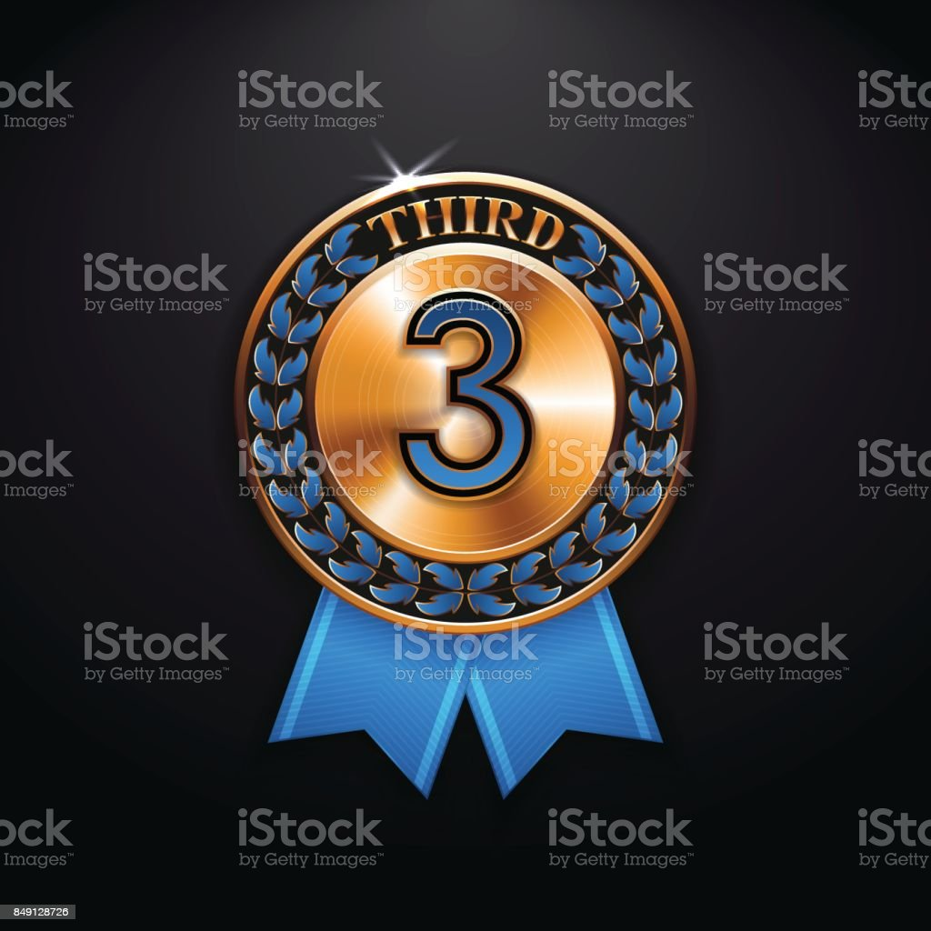 Third place winner of bronze medal stock vector art more images of circle number number 3 periodic table russia urtaz Images