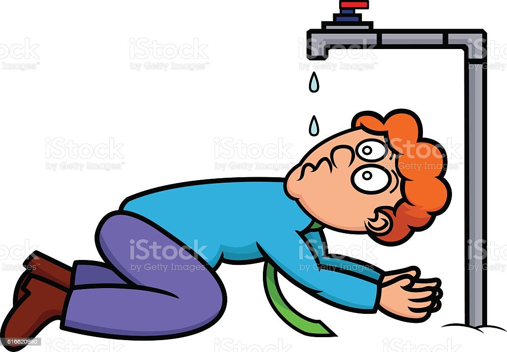 thirsty man drinking from faucet stock vector art more images of