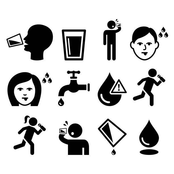 stockillustraties, clipart, cartoons en iconen met dorstige mens, droge mond, dorst, mensen drinkwater icons set - water drinken