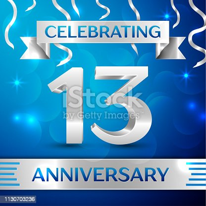 Thirteen 13 Years Anniversary Celebration Design. Confetti and silver ribbon on blue background. Colorful Vector template elements for your birthday party. Anniversary ribbon