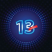 Vector of 13 years anniversary icon with blue color dot pattern background. EPS Ai 10 file format.