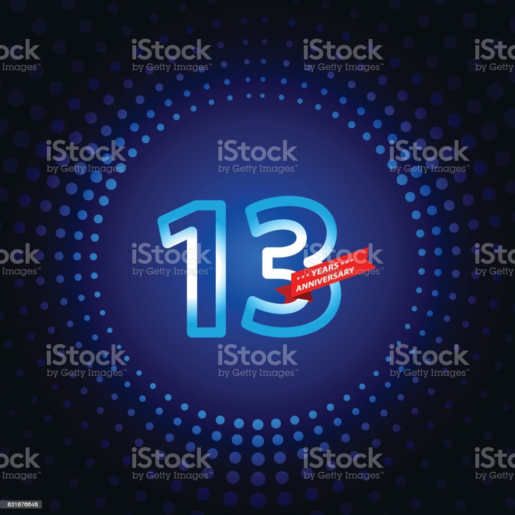 Thirteen years anniversary icon with blue color background vector art illustration