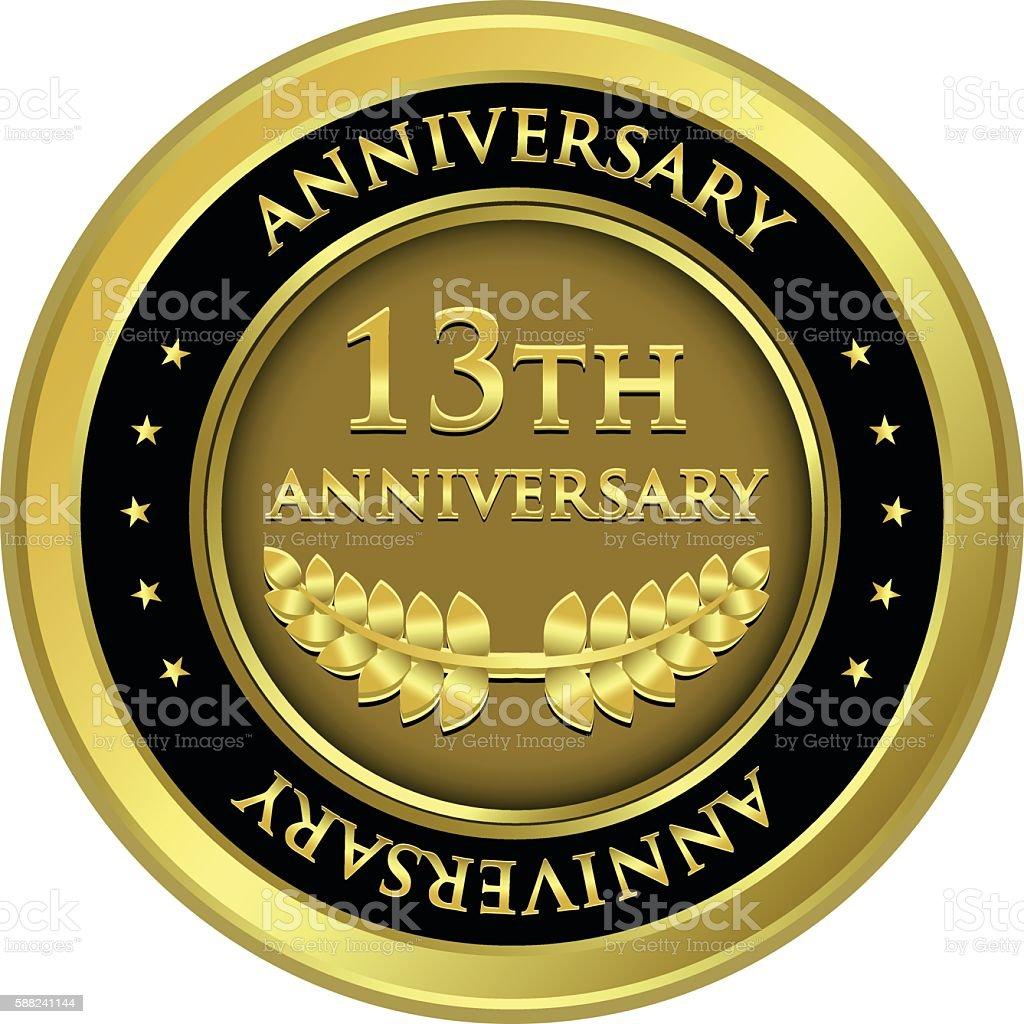 Thirteenth Anniversary Gold Medal vector art illustration