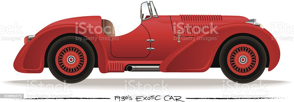 Thirties Sports Car vector art illustration