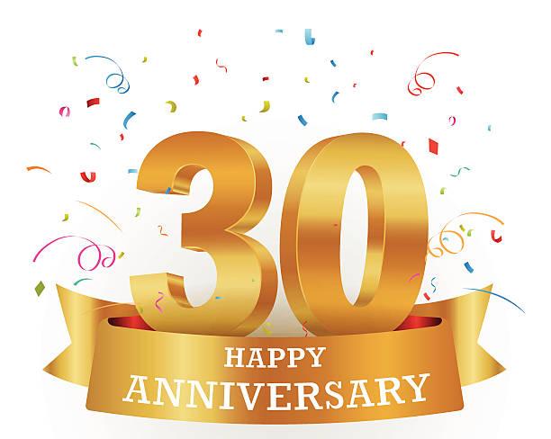 A thirtieth anniversary celebration carb design vector art illustration