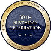 Thirtieth birthday celebration gold award with a laurel wreath and stars.
