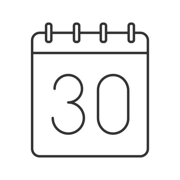 bildbanksillustrationer, clip art samt tecknat material och ikoner med trettionde dagen av månaden-ikonen - nummer 30
