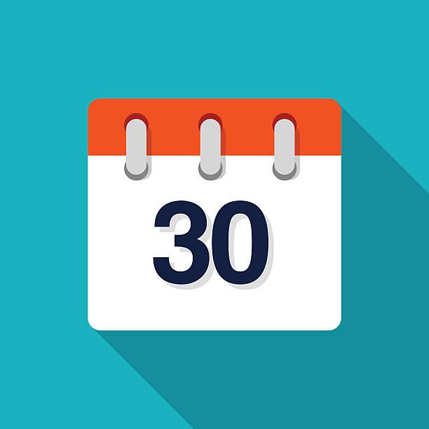 bildbanksillustrationer, clip art samt tecknat material och ikoner med thirtieth flat design calendar icon - vector - nummer 30