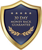 Thirty day money back guarantee luxury gold shield with five stars.