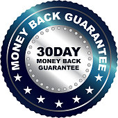 Thirty day money back guarantee silver badge label.