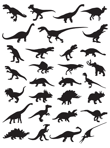 Thirty Dinosaur Silhouettes