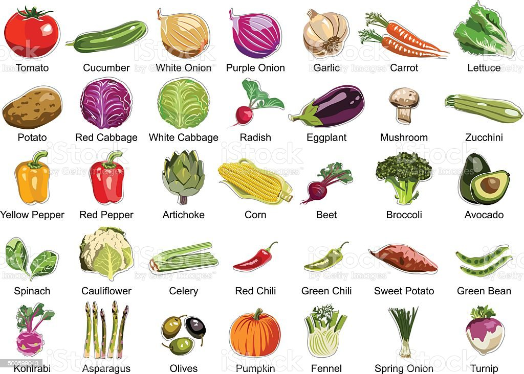 Thirty five Vegetables icons vector art illustration